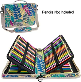YOUSHARES 160 Slots Colored Pencil Case - Colorful Large Capacity Pen/Pencil Organizer with Strap for Watercolor Pencils, Cosmetic LipSense and Make up Brush (Colorful Grey)