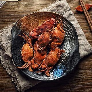 LXX-プレート 和風陶器食器海鮮料理8.75インチ家庭用浅いスーププレートスペシャルレストランプレート (Color : Black)