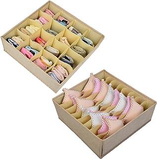 Polecasa 2 Pack Linen Large Bra Underwear Storage Box Drawer Organizer Divider for Socks, Ties, Belts and Accessories (Beige)