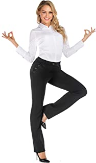 Professional Women's Black Stretch Pull on Tall Yoga Dress Pants Slacks for The Office Work with Pockets