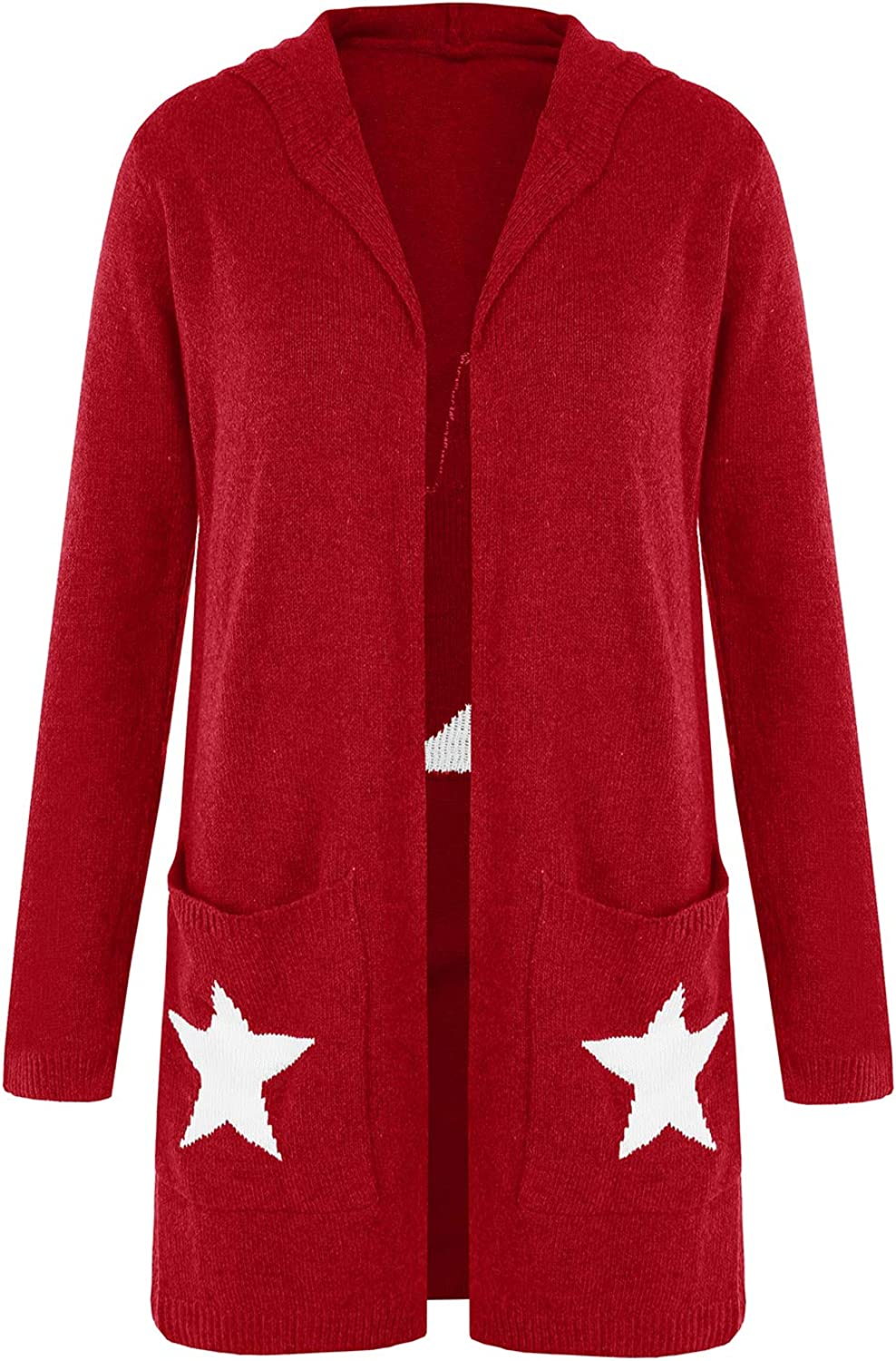 FISACE Womens Open Front Knit Cardigan Sweaters with Pockets Long Sleeve Hooded Outerwear