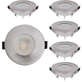 IP44-3 Stufen Dimmbar Rund 5,5W LED Bad Einbaustrahler 230V Silber