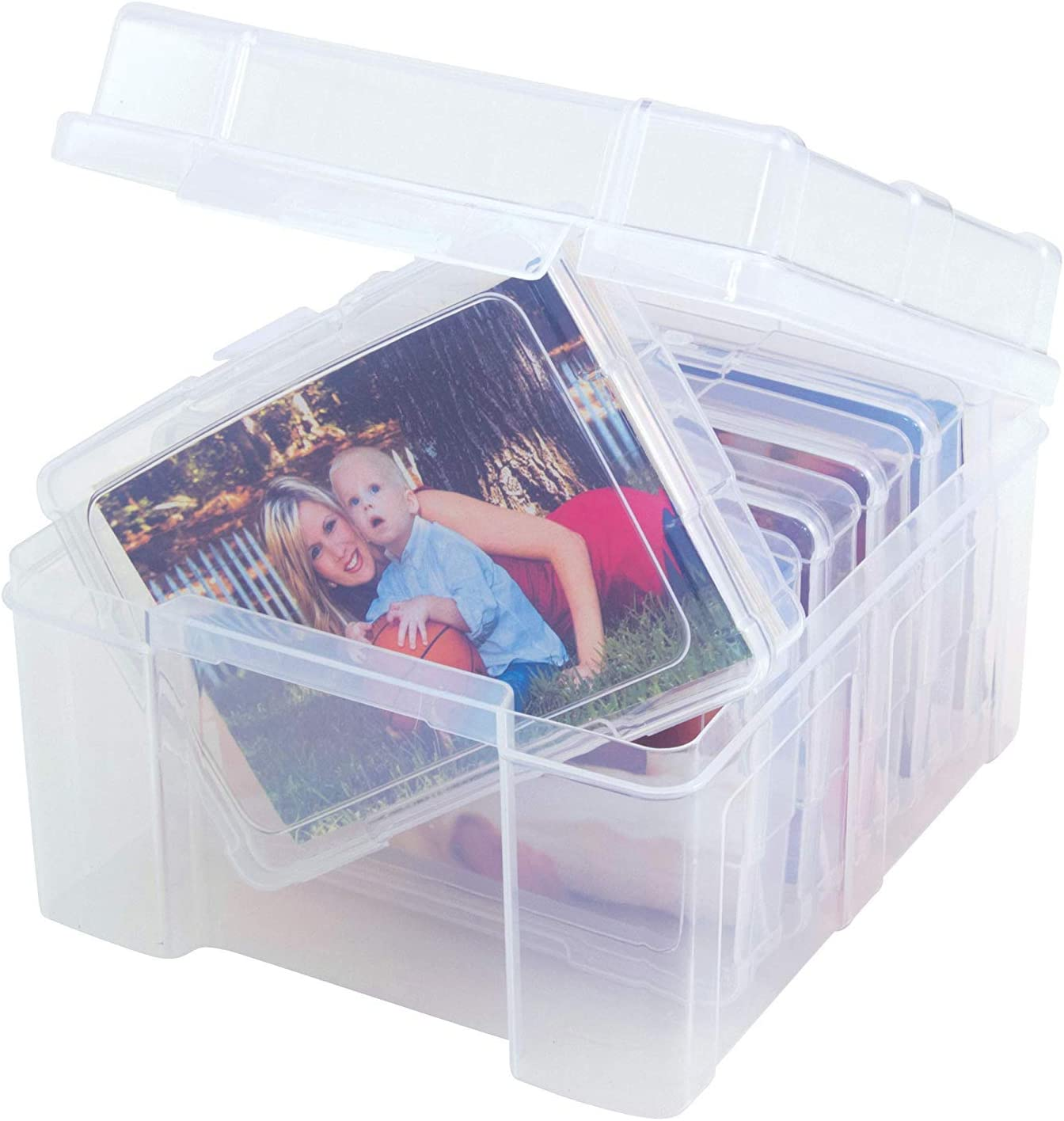 Advantus Photo Keeper Box with 6 Individual Clear Photo Cases Embellishment and Craft Storage Containers Pack 5 61989 Holds up to 600 Photos