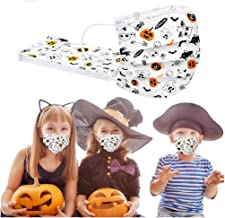 ?US in Stock?KFSO Kids' Dìsposable Face Màcks, Halloween Print 3 Layer Non-Woven Màcks for Boys Girls Outdoor School