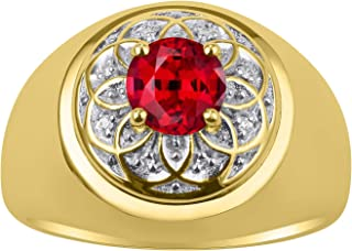 RYLOS 14K Yellow Gold Ring Gorgeous 7MM Round Shape Gemstone Color Stone and Genuine Sparkling Diamonds Set in Gypsy Desig...