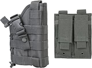 M1SURPLUS Wolf Grey MOLLE Compatible Holster Free MOLLE Compatible 2 Pocket Magazine Pouch/The Holster Fits Glock 17 20 21 22 37 31 FN FNS FNP FNX Walther P22 P99 Pistols
