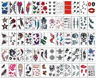 60 Sheets Colourful Temporary Tattoo Stickers Various Designs Removable Waterproof Temporary Tattoos Body Art Sticker Sheet Paper (Red Lips, Butterflies, Skeletons, Feathers, Flowers, Diamonds Etc.)