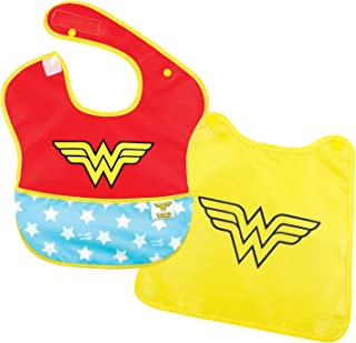 Bumkins DC Comics Wonder Woman SuperBib, Baby Bib, With Cape, Waterproof, Washable, Stain and Odor Resistant, 6-24 Months (Pack of 1)