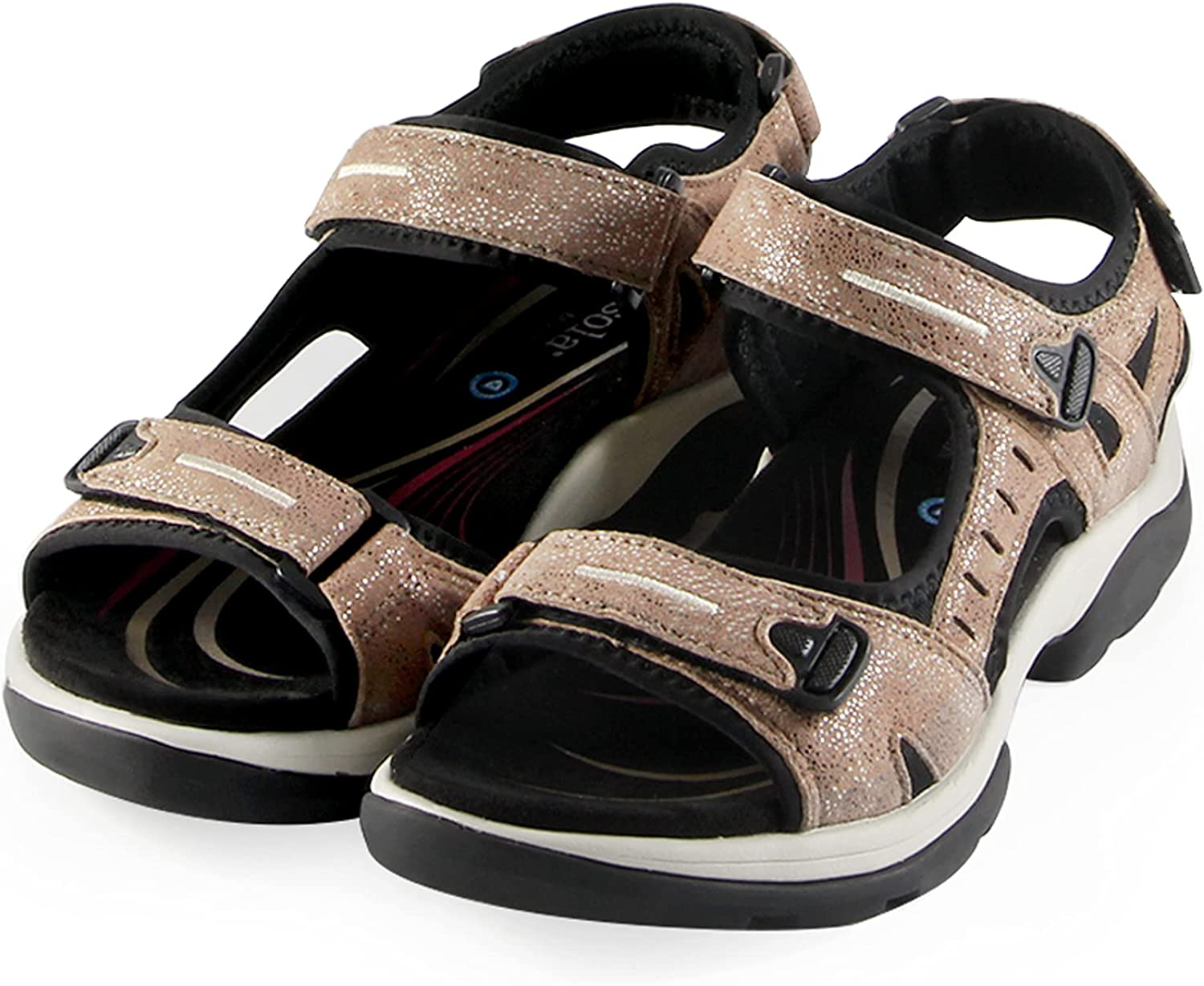 Bussola Hiking Sandals for Women Athletic Sport Outdoor Offroad Sandals Bordeaux Leather Lightweight Walking Shoes (Sand) EU40