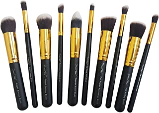 Dream Maker 10 Piece Makeup Brush Set Without Pouch (Black+Gold)