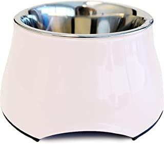 Dogit Elevated Dog Bowl, Stainless Steel Food and Water Dish for Small Dogs, Small, White