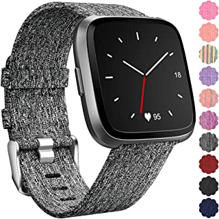 Maledan Replacement for Fitbit Versa Bands Women Men Large Small,  Woven Fabric Accessories Strap Wrist Band Compatible with Fitbit Versa Smart Watch/Versa 2/Fitbit Versa Lite/Versa Special Edition