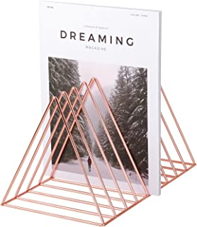 Simmer Stone Rose Gold Magazine Holder, Desktop File Sorter Organizer, 9 Slot Triangle Shape, Size 12.2