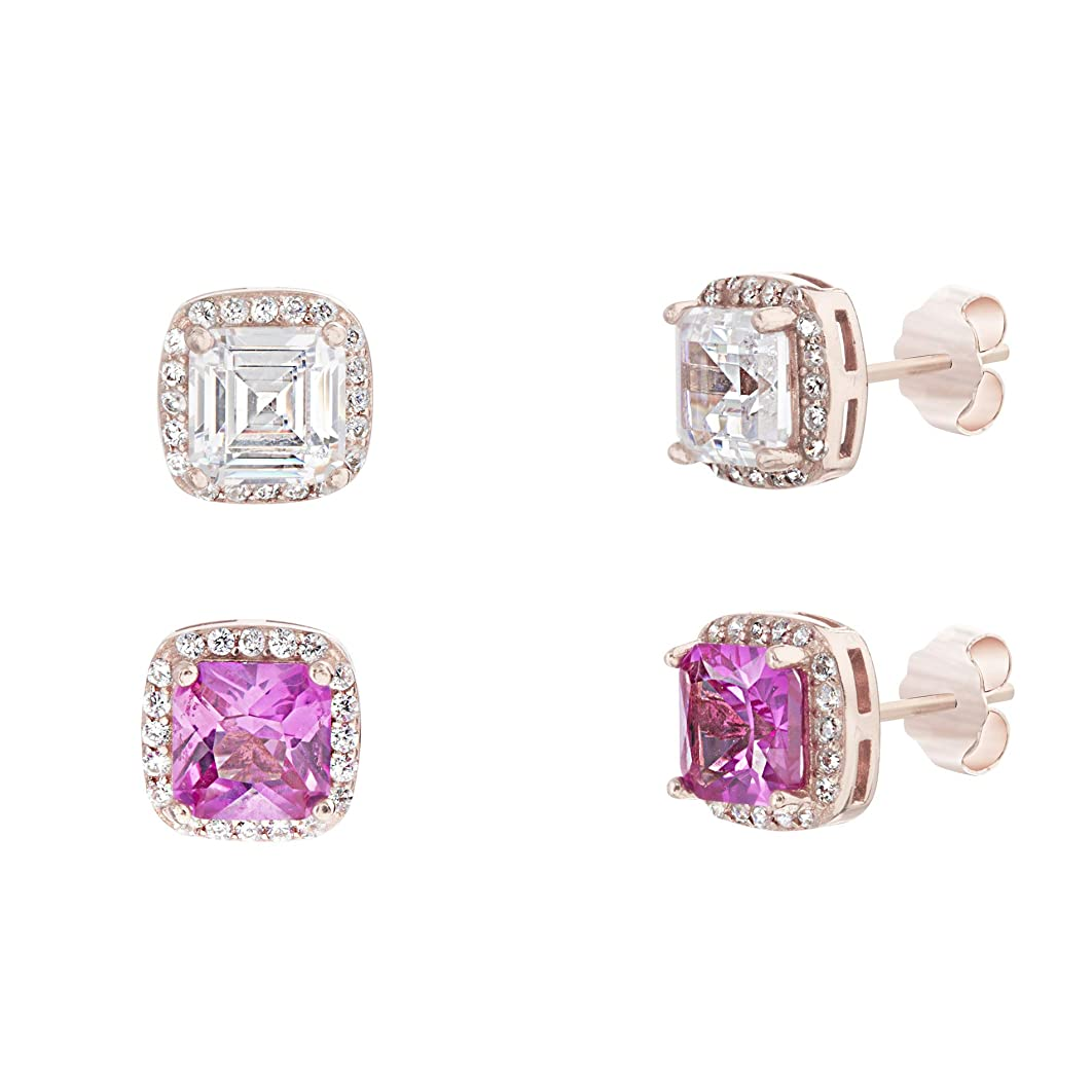 MIA SARINE Simulated Pink Sapphire & Cubic Zirconia Square Halo Stud Gift Earrings 2 pc Set in Rose Gold Plated 925 Sterling Silver