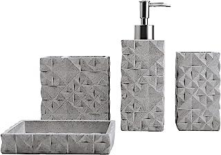 Hymmah Bathroom Accessories Set,Toothbrush Holder,Farmhouse Bathroom Decor,4 Pcs Resin Gift Set Apartment Necessities, Con...
