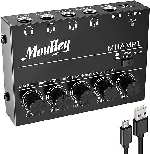 Moukey Ampli Casque 4 Canaux Ampli Casque Stéréo Ultra Compact