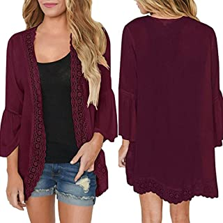 Clearance Womens Blouses,KIKOY Casual Solid Lace Long Sleeve Chiffon Cardigan Loose Kimono Tops