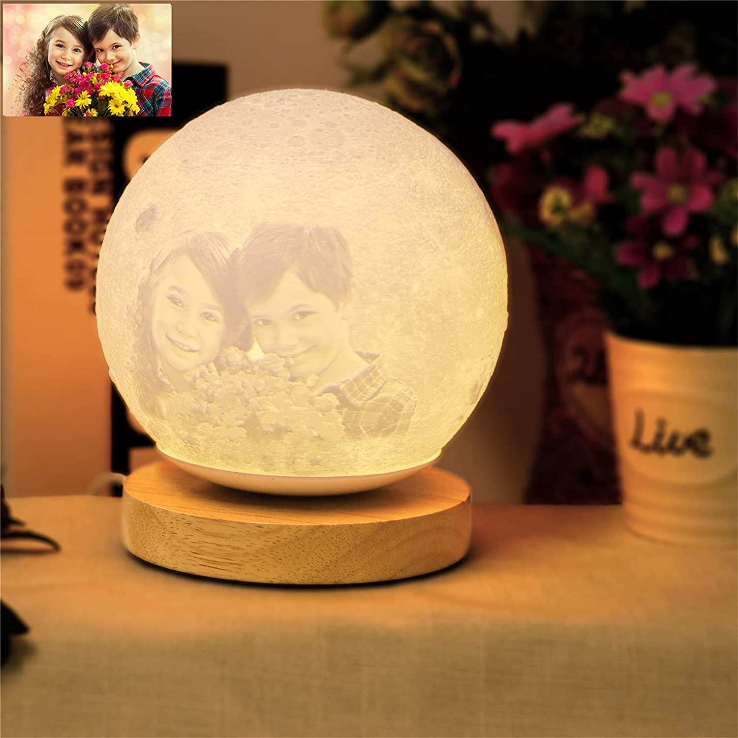 Moon Lamp Personalized Photo Customized 1 Picture with discount Reservation Engraved