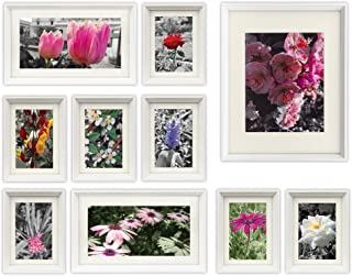 Golden State Art, 3D Set of 10 Multi Pack, Picture Frames Set, with Ivory Color Mat & Real Glass, Home Gallery Wall Decoration Gift (White)