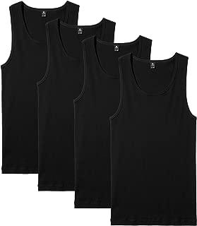 Men's 100% Cotton Ribbed Tank Tops Sleeveless Crewneck A-Shirts Basic Solid Undershirts Vests 4 Pack M35