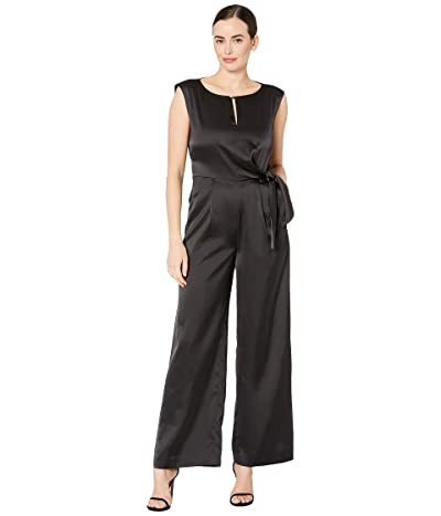 Tahari by ASL Satin Side Tie Jumpsuit (Black) Women