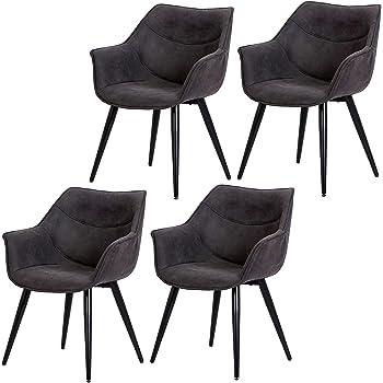 eSituro SDC0253-2 2 x Esszimmerstühle Wohnzimmerstuhl Küchenstuhl, Design Stuhl mit Rückenlehne, aus hochwertigem Kunstleder und Metallgestell, Grau