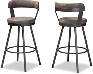 Baxton Studio Bar Stools, One Size, Grey/Black