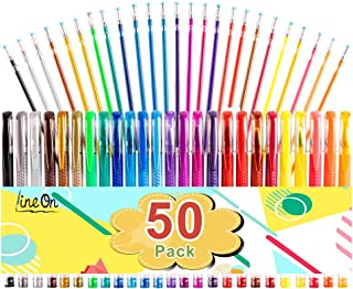 Gel Pens, 50 Pack Gel Pen Set 25 Colored Gel Pen with 25 Refills for Adults Coloring Books Drawing Doodling Crafts Scrapbooking Bullet Journaling