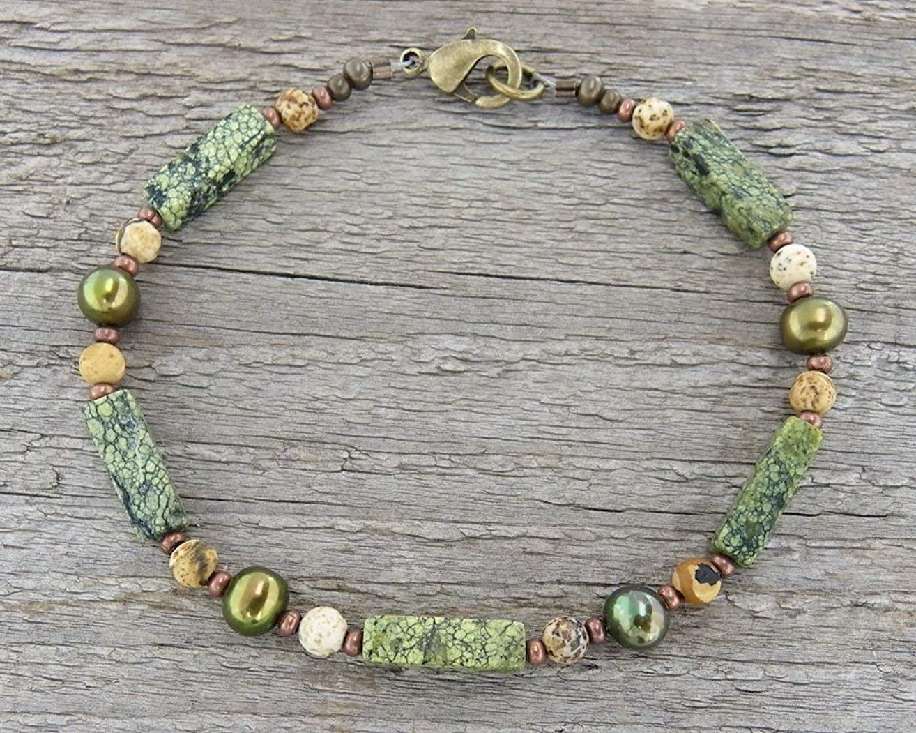 Green Pearl and Matte Stone Anklet, Sm to XL