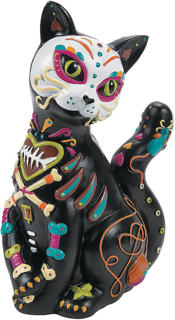 Day of The Dead Resin Cat (Hand Painted Figurine)