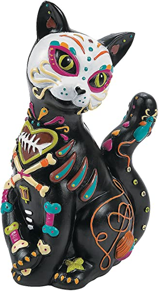 Day Of The Dead Resin Cat Hand Painted Halloween Decoration