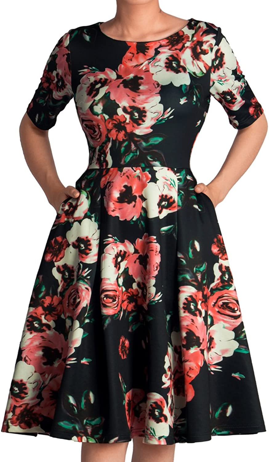 GODTLIV Women's Vintage Tea DressesFloral Print Fit Flared Casual Work Stretch Swing Midi Dress with Pockets 00001