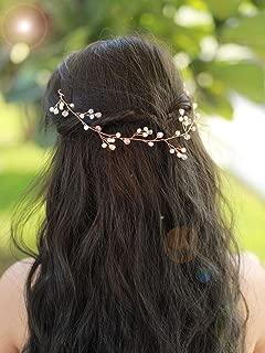 Missgrace Bridal Rose Gold Crystal Hair Vine Wedding Vintage Headpiece Women Leaf Headband Hair Accessory Wedding Hair Jewelry for Festival and Party- Bridal Hair Accessories for Bride