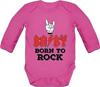 ShirtStreet Lustige Geschenkidee zur Geburt Strampler Bio Baby Body Bodysuit langarm Jungen Mädchen BABY - Born To Rock