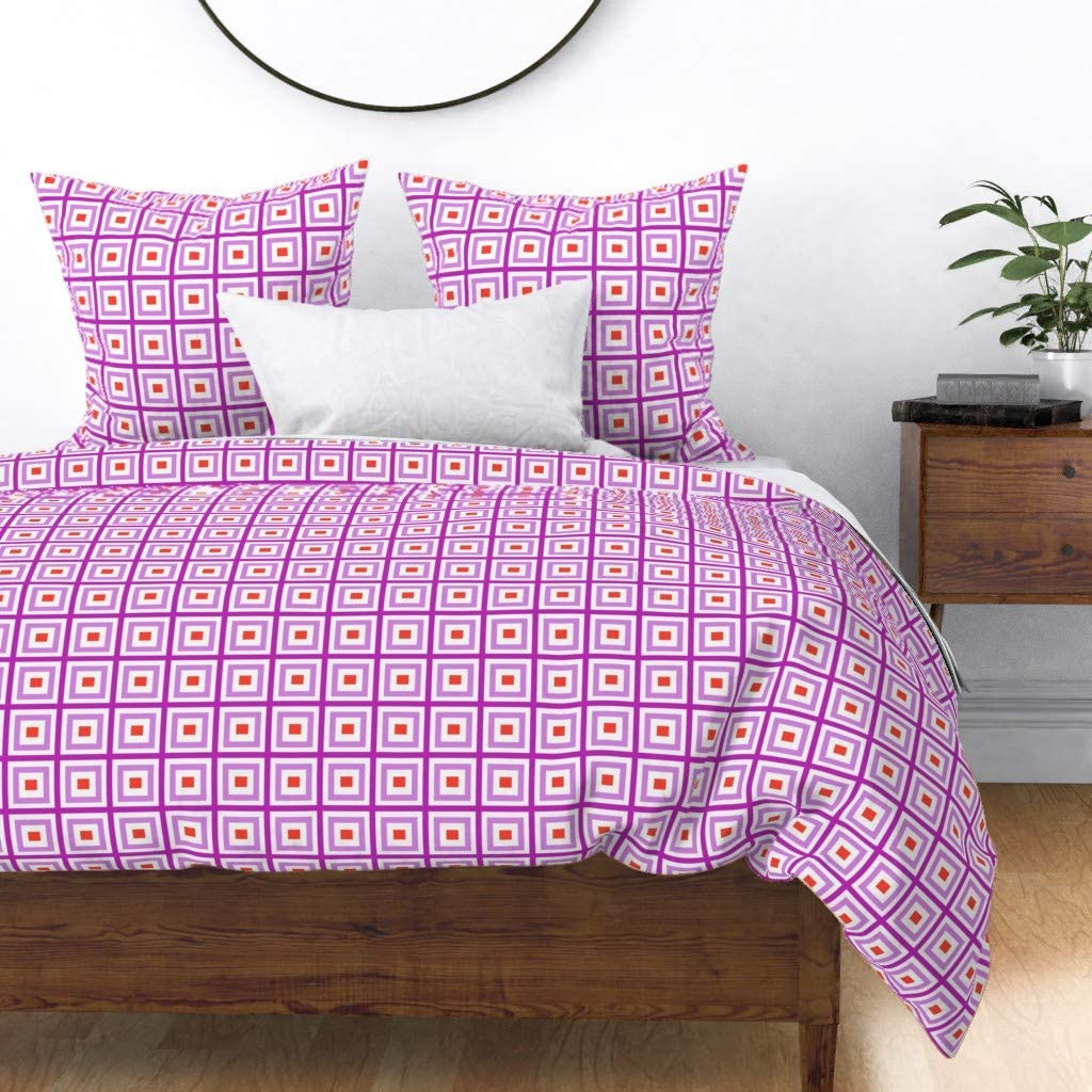 Roostery Duvet Cover Kids Cheap sale Geometric Interiors Lila 67% OFF of fixed price Squares Pink