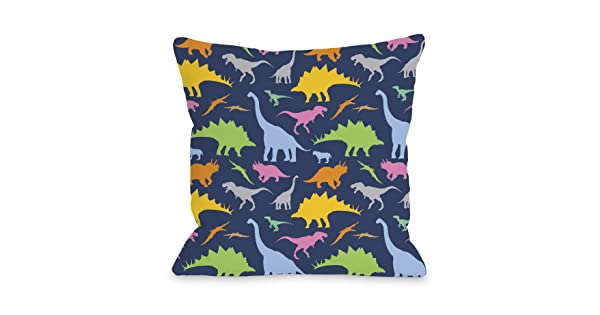 Navy Multi 18x 18 12503pl18 One Bella Casa Crazy Dinos Throw Pillow By Obc 18x 18 Throw Pillows