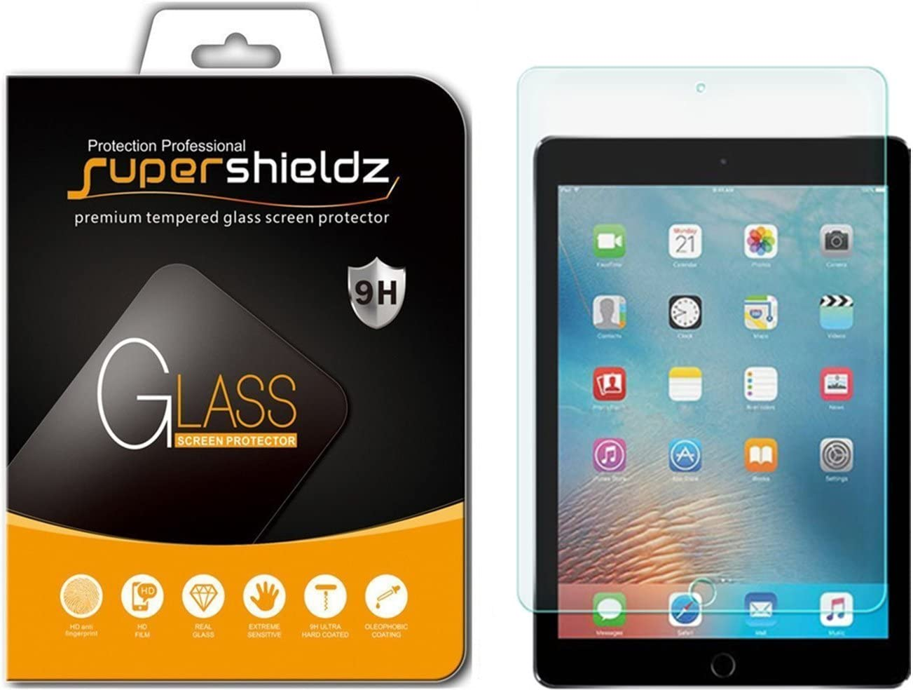 Supershieldz Designed for Apple iPad Pro 12.9 inch (2015 and 2017 Model) Screen Protector, (Tempered Glass) Anti Scratch, Bubble Free