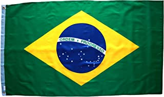 High Supply 3x5 Brazil Flag with Double Stitched Edges, 100% Polyester Fabric, and Two Brass Grommets Flag of Brazil, Brazilian Flag 3x5