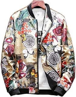 ADA-XSHION Men Baseball Floral Coat Jacket Outerwear Top Clothing Veste Куртка Zipper