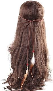 Headband Feather Women Girls Stretchy Braided Leaf Bead Hair Tassels Clothes
