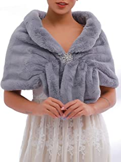 Genbree Women's 1920 Fur Wraps and Shawls Wedding Faux Fox Fur Stoles Bridal Fur Scarf for Women and Bridesmaids