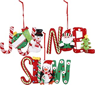 Sea Team Assorted Hanging Letters Holiday Decoration Clay Ornaments Traditional Joy, Snow, Noel Hanging Charms Christmas Tree Ornament, Set of 3