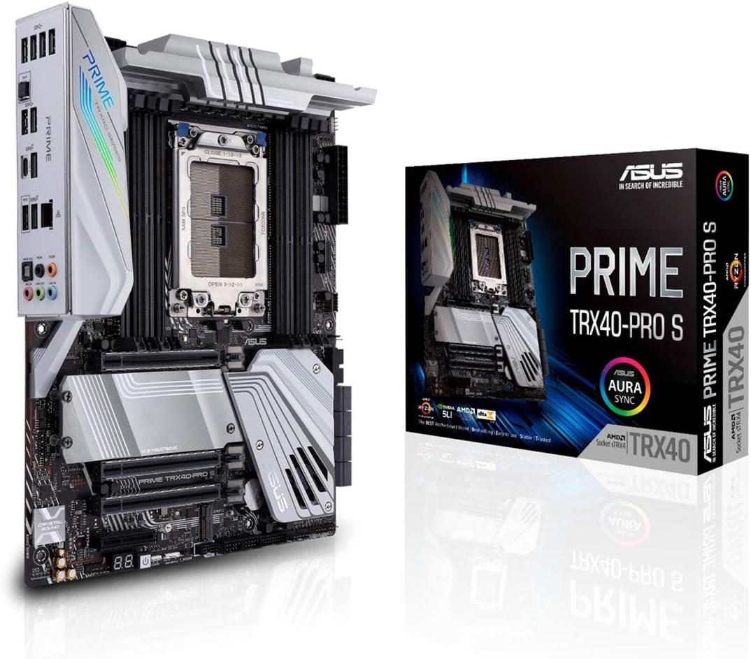 ASUS Prime TRX40-Pro S - Placa Base AMD ATX sTRX4 Ryzen (Threadripper de 3ª Gen. hasta 64 núcleos con 16 etapas, DDR4 4666+ MHz OC, Tres M.2 PCIe 4.0, USB 3.2 Gen. 2 Tipo C Frontal, Aura Sync RGB)