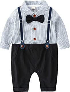 Newborn Baby Boys Gentleman Romper with Tuxedo Bow Tie Toddler Infant Long Sleeves Plaid Jumpsuit Outfit