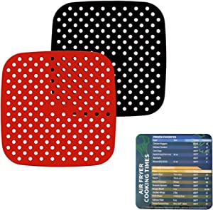Reusable Air Fryer Liner,7.5 Inch Silicone air fryer Mats with Air Fryer Magnetic Cheat Sheet,Heat Resistant 430℉,Easy to Clean,BPA Free,AirFryer Accessory Parchment Paper Replacement (7.5 Inch)