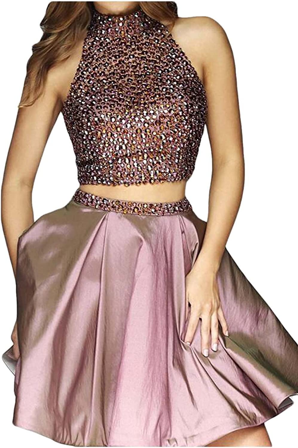 Scarisee Women's High Neck Beaded Homecoming Dress Short Two Pieces Prom GownSA9