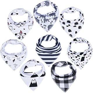 8 Pack Bibs Baby Bibs Bandana Bibs Gelisite Organic Cotton for Absorbent Drooling Teething Black Pattern GL000…