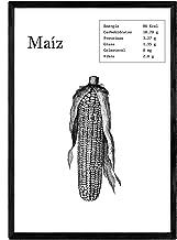 Nacnic Poster de Maíz. Láminas de Frutas y Verduras. Tamaño A4 con Marco
