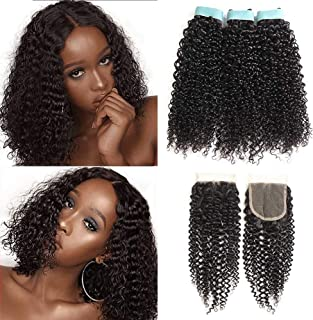 Lace Rosa 9A Malaysian Kinky Curly Human Hair 3 Bundles with Closure(12 14 16+10)100% Uprocessed Virgin Human Hair with Lace Closure Free Part Natural Black