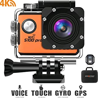 Soocoo 4 K WiFi Sports Action Camera, S100 Pro Action Camera Ultra HD su geçirmez DV Camcorder 20 MP 170 derece Wide Angle 2 inç LCD Screen/2 piller/17 montaj Kits-turuncu